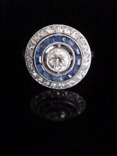 ART DECO FRENCH 18CT SAPPHIRE DIAMOND TARGET RING IN WHITE GOLD