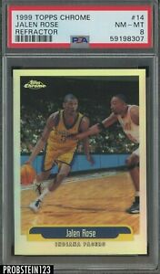 1999-00 Topps Chrome Refractor #14 Jalen Rose Indiana Pacers PSA 8 NM-MT