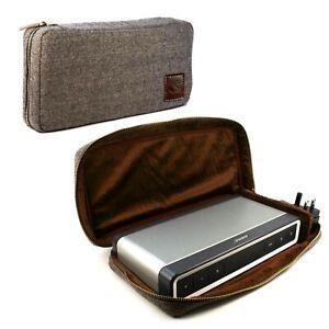 TUFF LUV Herringbone Tweed NFC Travel Case for Bose Soundlink III NFC Tag -Brown