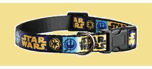 """PETCO Star Wars Black Blue Yellow LARGE Dog 16-26""""Empire X Wing Fighter Collar L"""