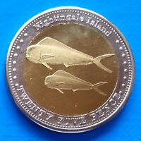 Nightingale Island 25 pence 2011 UNC Fish Bi-metallic bimetal unusual coinage