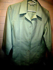 Women 18 Winter Casual Soft Green Stretchy 3/4 Sleeve Layering Shirt or Jacket
