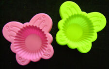 NEUF 2 ENFANTS SILICONE PAPILLON CUPCAKE MUFFIN MOULES P & G