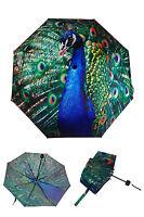 Peacock Print Ladies Folding Walking Umbrella Sun-proof Windproof New