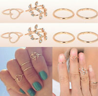 Midi Ring Urban Gold Plated Crystal Plain Above Knuckle Ring Band 4PCS/SET