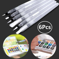 6x Refillable Water Brush Ink Pen For Watercolour Art Painting Calligraphy New
