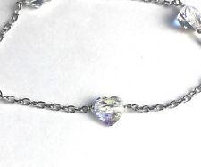 "925 Sterling Silver Bracelet Aurora Borealis Heart Crystals Sterling Silver 7.5"""
