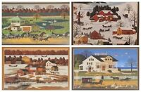 """Set of 4 Charles Wysocki Double-Matted Ready to Frame 12""""x10"""" Prints NEW"""