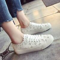 New Women White Hollow Out Floral Round Toe Athletic Shoes Fashion Sneaker Y1025