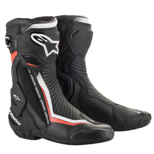 Alpinestars SMX Plus v2 Motorcycle Motorbike Sports Boots Black White Red