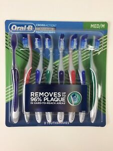 Oral-B   Cross Action Advanced Toothbrush   Medium   8-Pack   NEW Oral B 8 Count