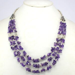 Gemstone Necklace Natural Amethyst Gemstone Beaded Handmade Jewelry Purple Color