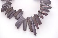 12 Titanium Crystal Quartz Tusk Point Beads silvery grey rainbow gqz0035