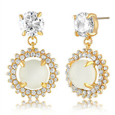Swarovski Yellow Gold White Dream Cluster Halo Drop Earrings Wedding-Gift
