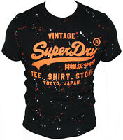 New Superdry Mens T-Shirt Round Neck in Black Colour Size L