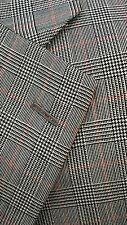 Vtg Paul Stuart Glen Plaid Black White Red Summer Blazer Sport Coat Jacket 40R