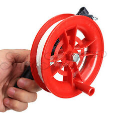 Outdoor Fire Wheel Kite Winder Tool Reel Handle W/ 100M Twisted String Line Red