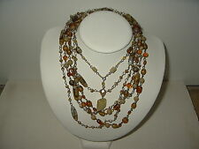 3 Vintage Estate Gold Amber Venetian Czech Glass Bead & Wire Necklaces