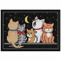 DIY Cat Handmade Needlework Counted Printed Cross Stitch Embroidery Kit Decor