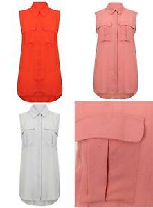 Women Sleeveless Summer Work Vest Shirt Blouse Grey Pink Red Size 6-20