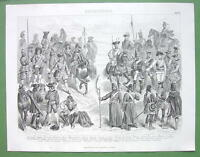 ARMIES French Louis XV Russian Prussian - 1870s SUPERB Print Steel Engraving