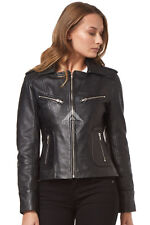 RIDER Women Real Leather Fashion Jacket Black WASHED Biker Motorcycle Style 9823