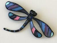 Unique vintage style Large Dragonfly brooch in enamel on metal