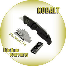 KOBALT Speed Release Folding Lockback Utility Knife - Extra Blades Box Cutter