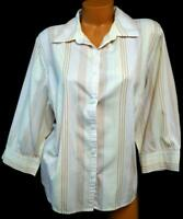 Sw studio works white red 3/4 sleeve wrinkle free button down striped top 2X