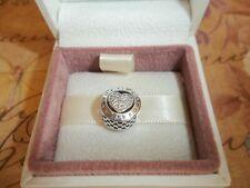 Genuine Authentic Pandora Silver Sparkling Signature Heart Charm - 796218CZ