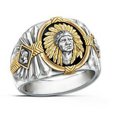 Men's Fashion Silver Gold Signet tribal Indian Western Biker ring band R87