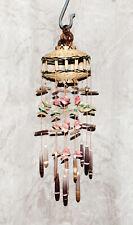 "Vtg Wind Chime Urchin Spines Shells Basket Tan Pink Green Brown 14"" Long 4"" Dia"