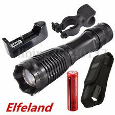 8000LM T6 Zoomable LED Flashlight 18650 Battery US Charger Torch Holder Holster