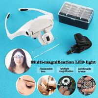 Hands Free Eyeglasses Bracket Headband Interchangeable Magnifier & 5 Replace Len