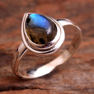 Natural Labradorite Gemstone 925 sterling Silver Jewelry Ring Size US 6