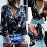 Womens Summer Chiffon Blouse Tops Ladies Long Sleeve Loose Casual T shirt Tee