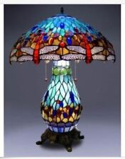 Tiffany Style Desk Lamp Stain Glass Table Dragonfly Accent Lighted Base Blue NEW