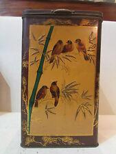 enorme boite a biscuits tole peinte repoussée epoque 1920 oiseaux bambou pub