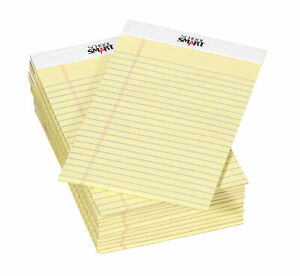 School Smart Junior Legal Pads, 5 x 8 Inches, 50 Sheets Each, Canary, Pack of 12