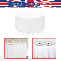 "108"" White Round Polyester Tablecloth Cover Reusable Wedding Party Decoration"