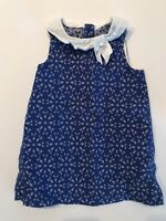 Janie and Jack Dress Girls Blue White Diaper Cover Size 18-24 months