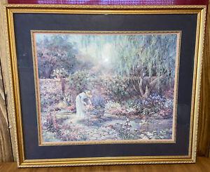 "Vintage Barbara Mock English Country Garden Floral Huge 35"" x 40"""