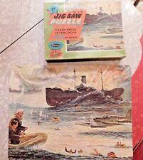 VINTAGE 1950's WWII WAR SCENE 63 PIECE WHITMAN PUZZLE COMPLETE WILLIAM JUHRE ART