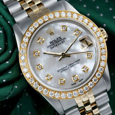 2 Tone Rolex 31mm Datejust White Mother of Pearl with Diamonds 18K Gold & SS