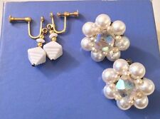 VINTAGE Dangle &  ROUND WHITE PEARL  BEAD CLIP ON EARRINGS Lot of Two Pairs