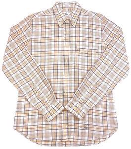 GANT RUGGER Mens Button Down Size Large The Hugger Old Loom Oxford Tan Plaid EUC