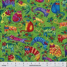 Laurel Burch Enchantment CAT TOSS GREEN Christmas Fabric By the FQ - 1/4 YD