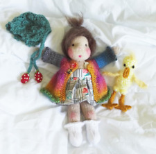 Waldorf Girl Doll with Duckling Toy - Hand Knitted Soft Toy - New Custom Crafted