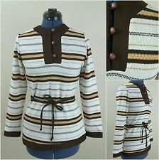 Vtg Mod Top 70s Brown Pullover Tunic Space Dye Brown Beige Gold 70s 60s S Stripe