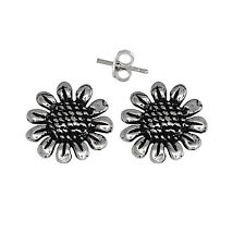 Sun Flower Pin Earring Sterling Silver .925 Oxidized.   Made in USA
